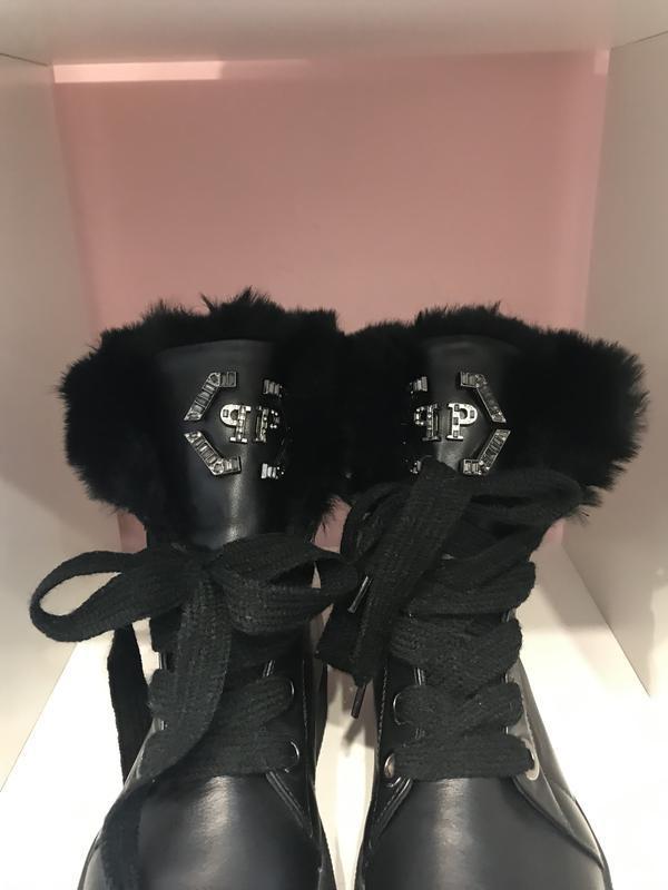 Стильнючі зимові чобітки на високій підошві, шкіра, 39 - Фото 4