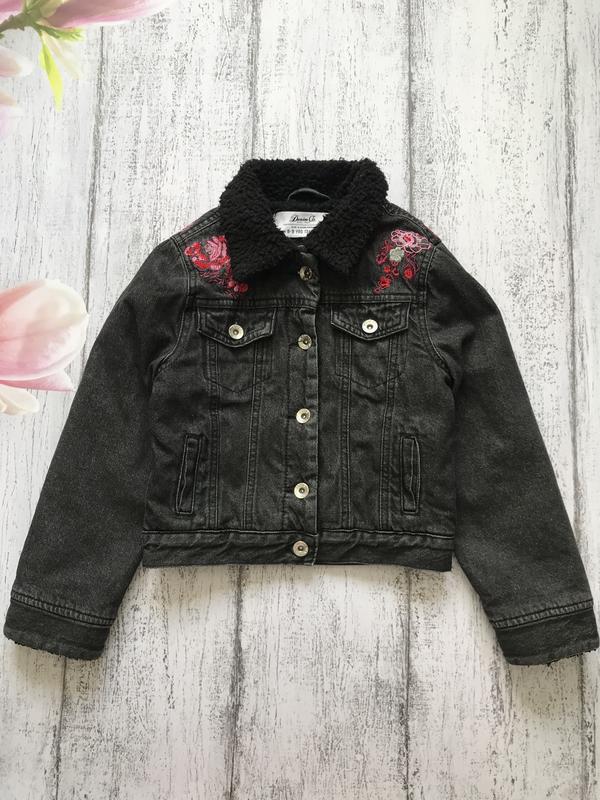 Крутая джинсовая утеплённая куртка на меху с вышивкой denim co...