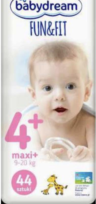 Подгузники Babydream Fun&Fit maxi plus 4+, 9-20 kg 44 шт