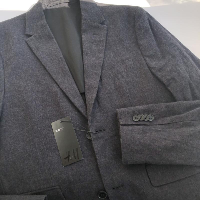 Однобортный хлопковый пиджак h&m , slim fit ! - Фото 3