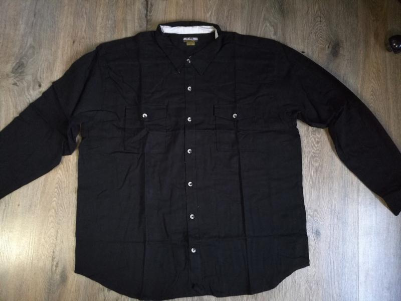 Теплая рубашка фланель р. 4xl atlas for men франция черный - Фото 2