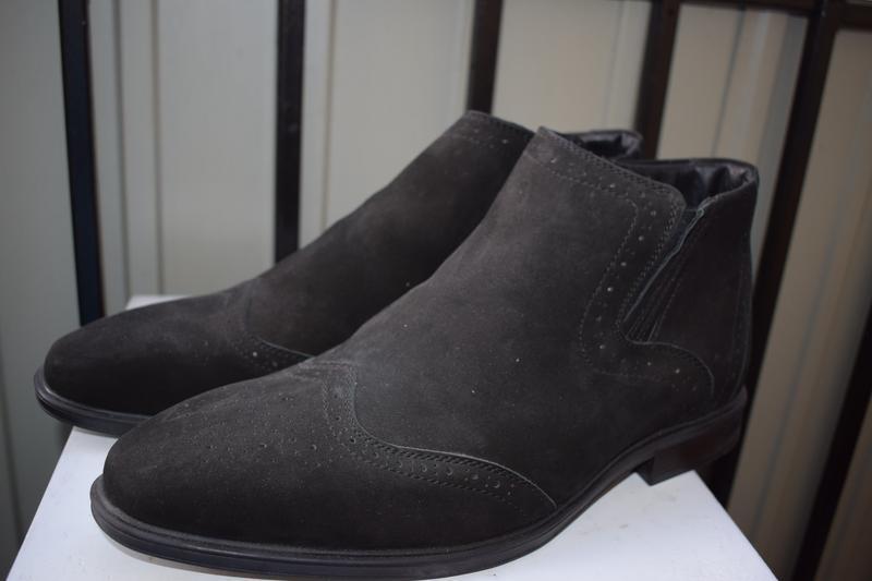 Кожаные зимние ботинки челси оксфорды - Фото 2