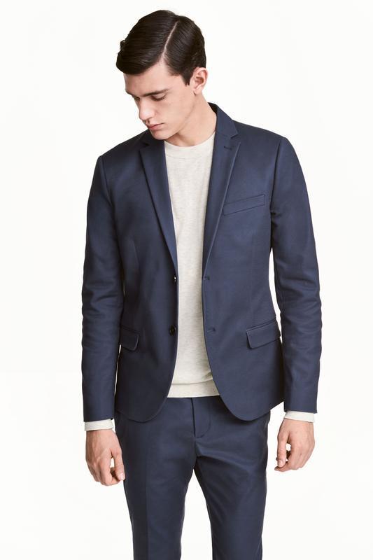 Синий хлопковый пиджак h&m , slim fit !