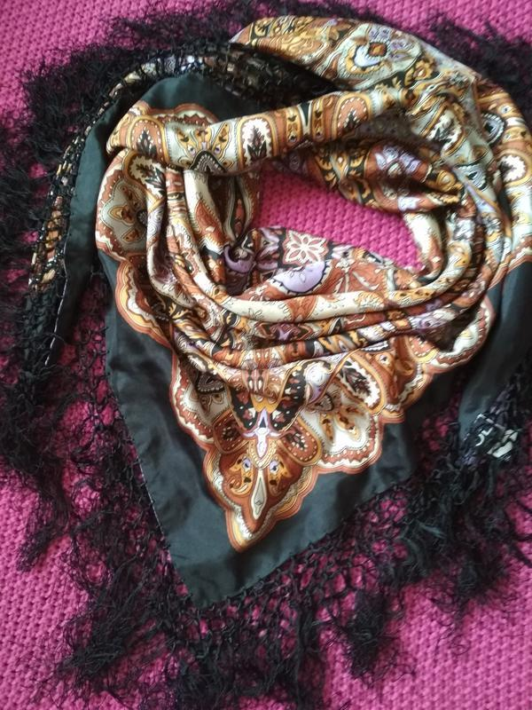 Шикарный шелковый большой платок парео с бахромой от jl by v f...