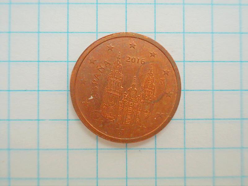 Монета Испания 2 Eurocent евроцента 2016 №2