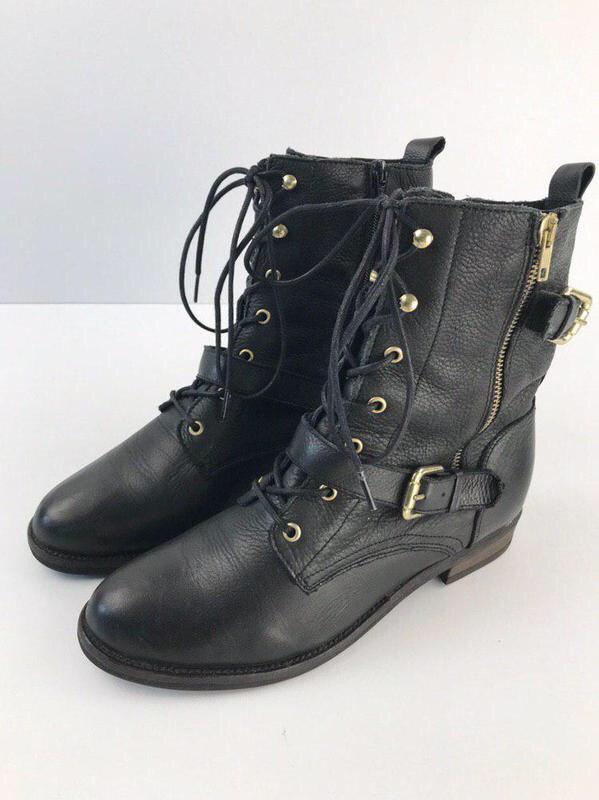 Кожаные ботинки на шнуровке aldo