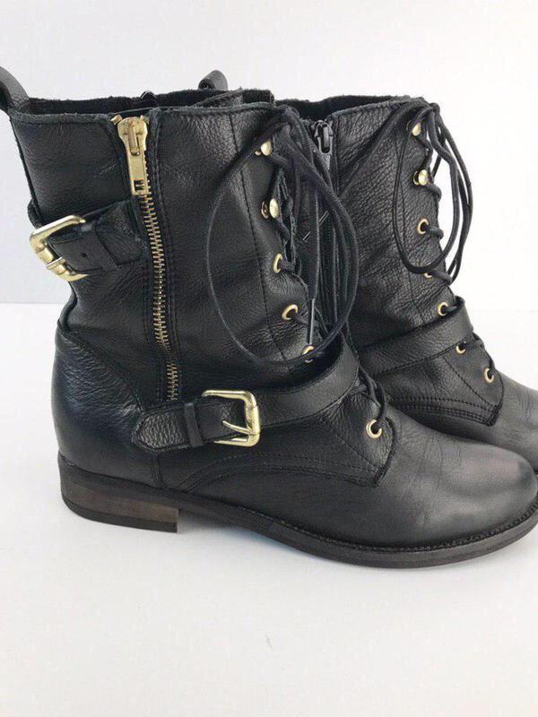 Кожаные ботинки на шнуровке aldo - Фото 2