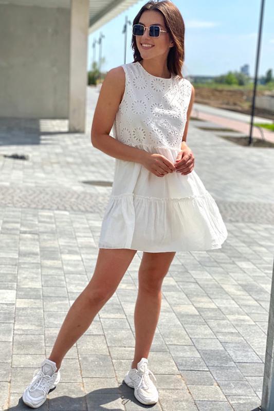 Летнее женское платье с вышивкой ришелье - Фото 2