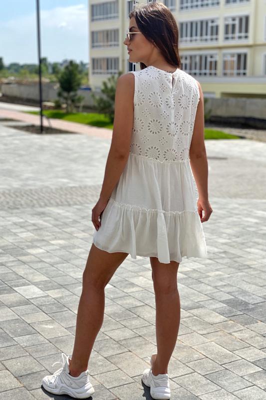Летнее женское платье с вышивкой ришелье - Фото 3