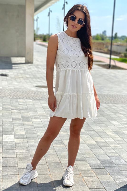 Летнее женское платье с вышивкой ришелье - Фото 5