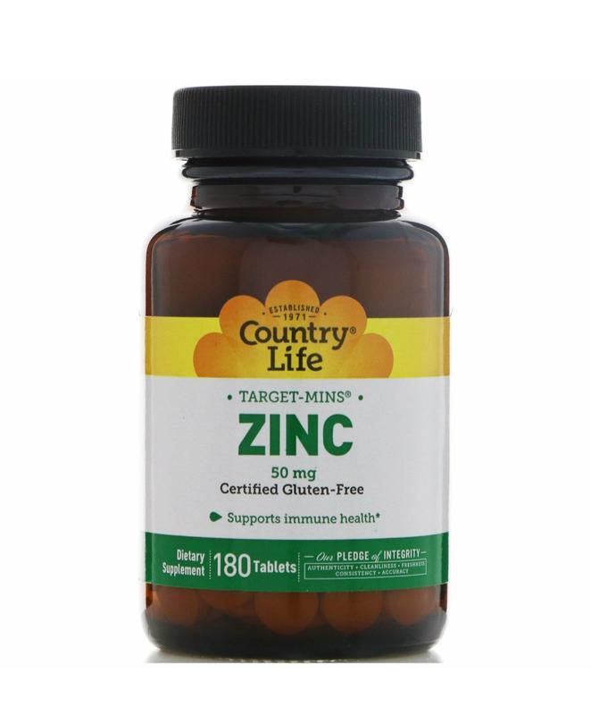 Zinc Country Life 50mg , 180 tab, Цинк , Цынк 50мг