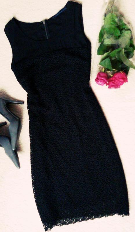 Платье футляр миди zara basic из дорогого кружева р-xl