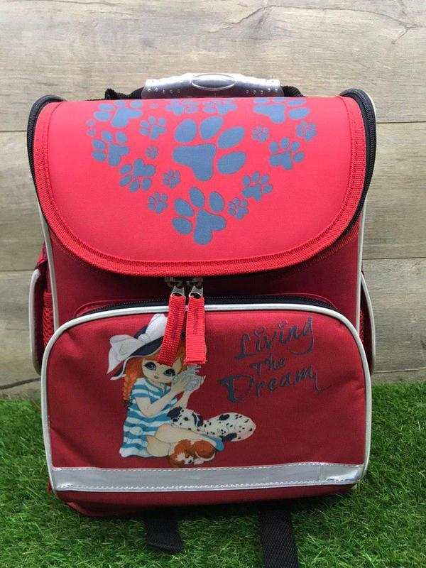 Школьный рюкзак для девочки ортопедический каркасный (красный)