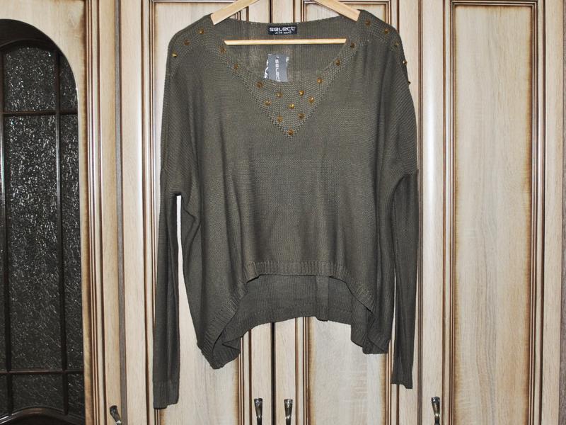Новый асимметричный свитер оверсайз со спущенной линией плеча ... - Фото 4