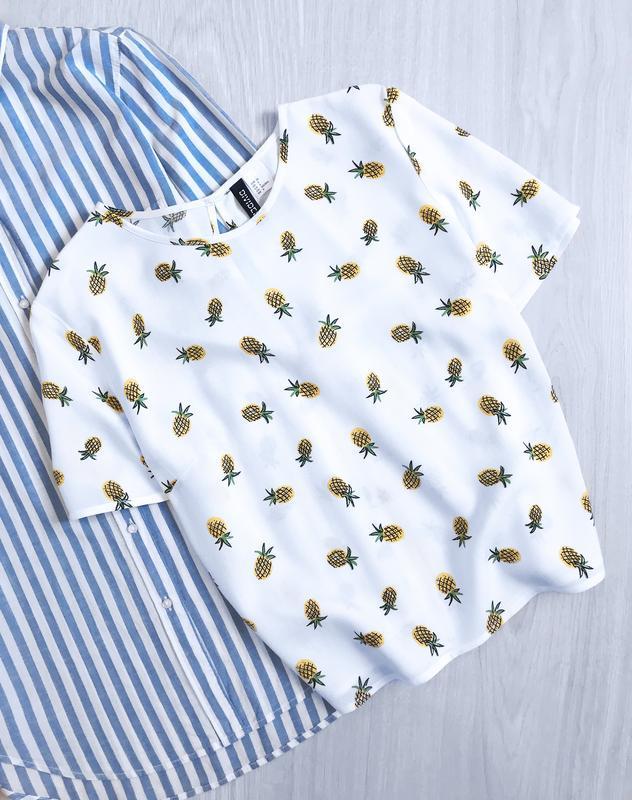 Блуза топ в принт ананасы h&m