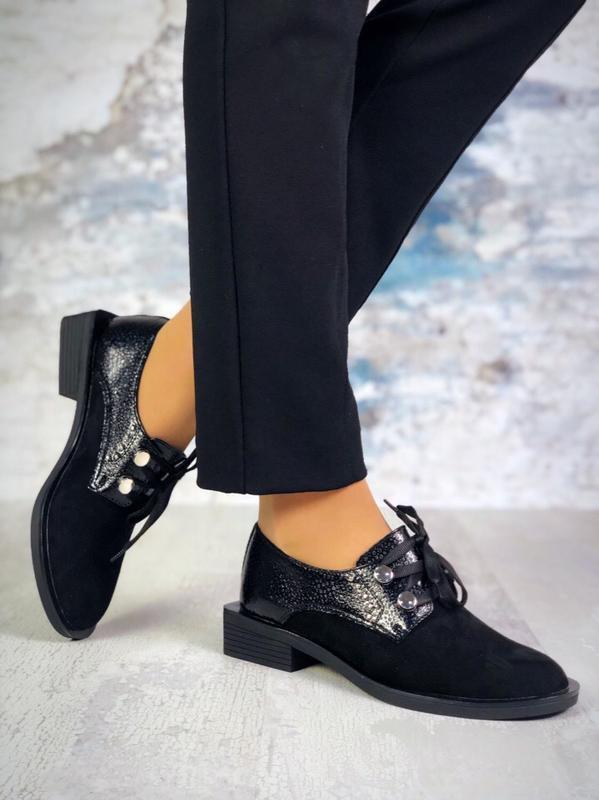 Эксклюзивные кожаные туфли на шнурках на модном каблуке