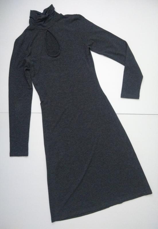 Базовое трикотажное платье гольф сукня миди