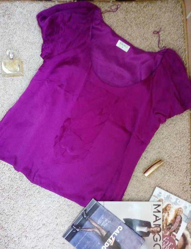 Kaliko актуальная блуза с воланами 100% натуральный шелк uk14 - Фото 2