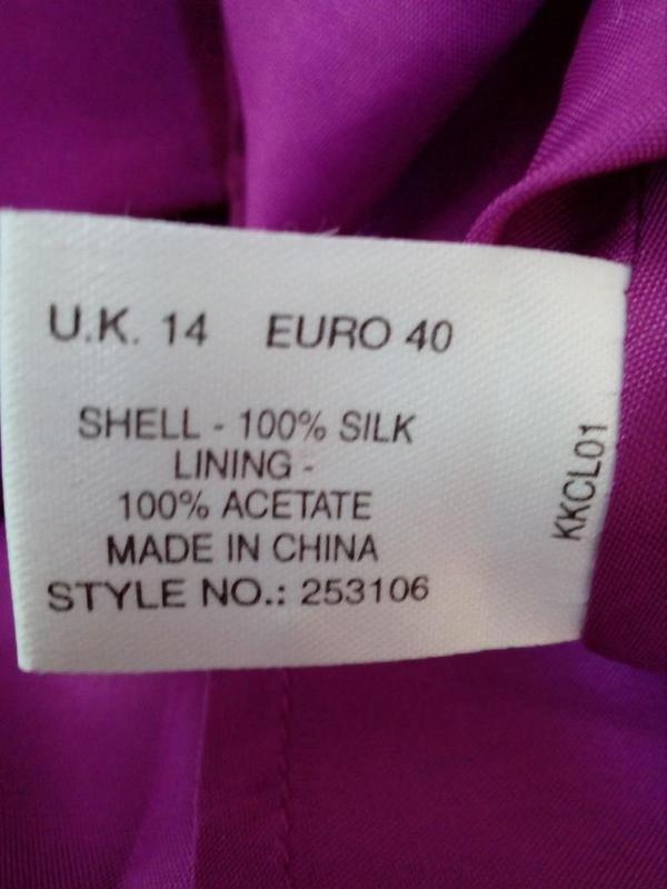 Kaliko актуальная блуза с воланами 100% натуральный шелк uk14 - Фото 4