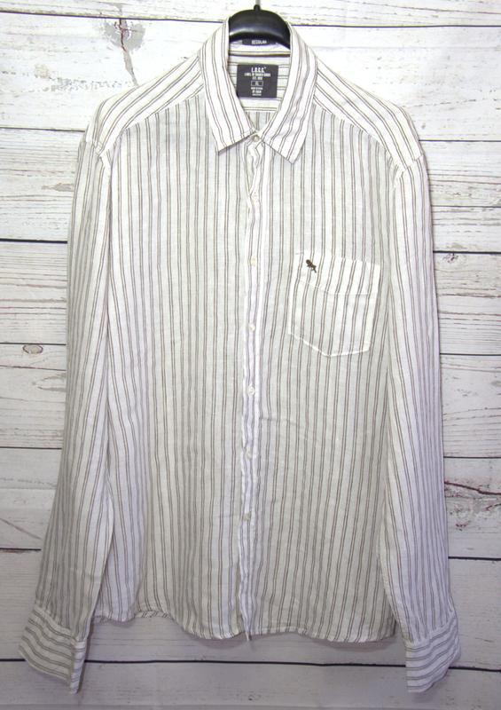 Льняная мужская  рубашка от h&m - Фото 2