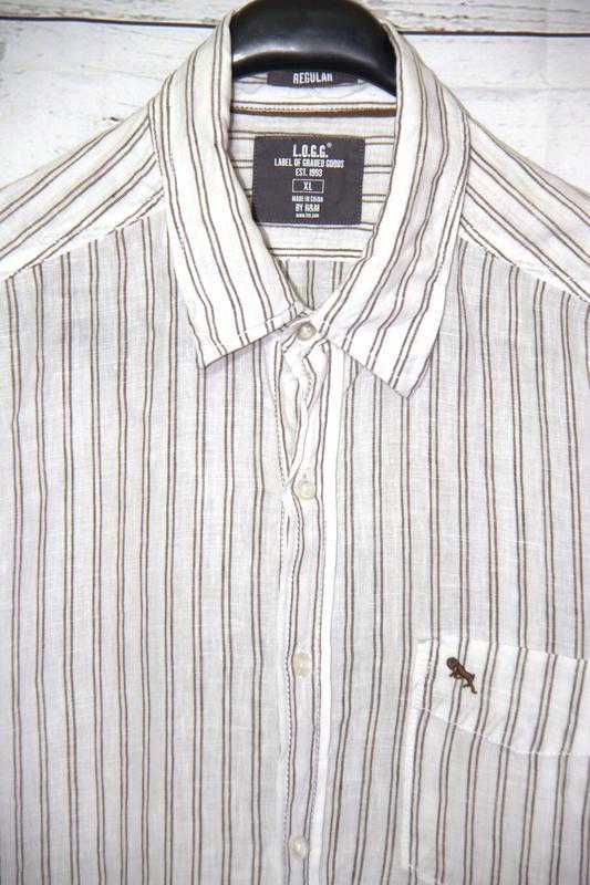 Льняная мужская  рубашка от h&m - Фото 4