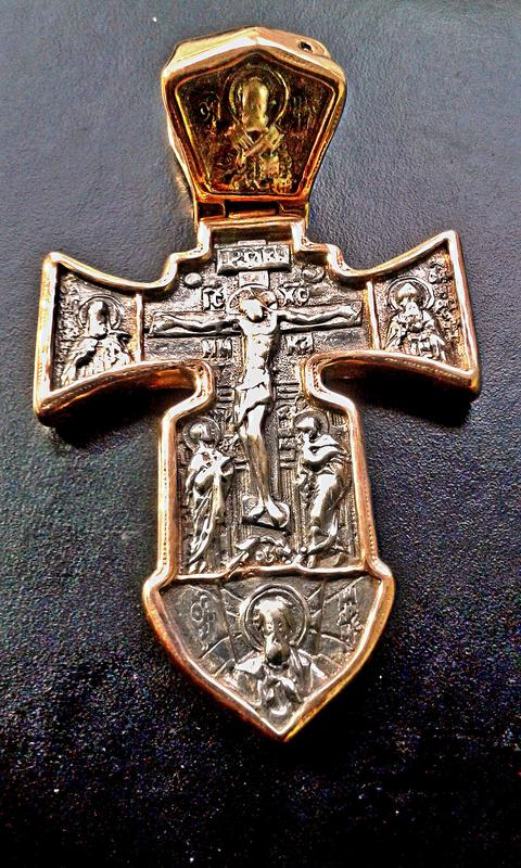 Серебряный крест Морской с позолотой
