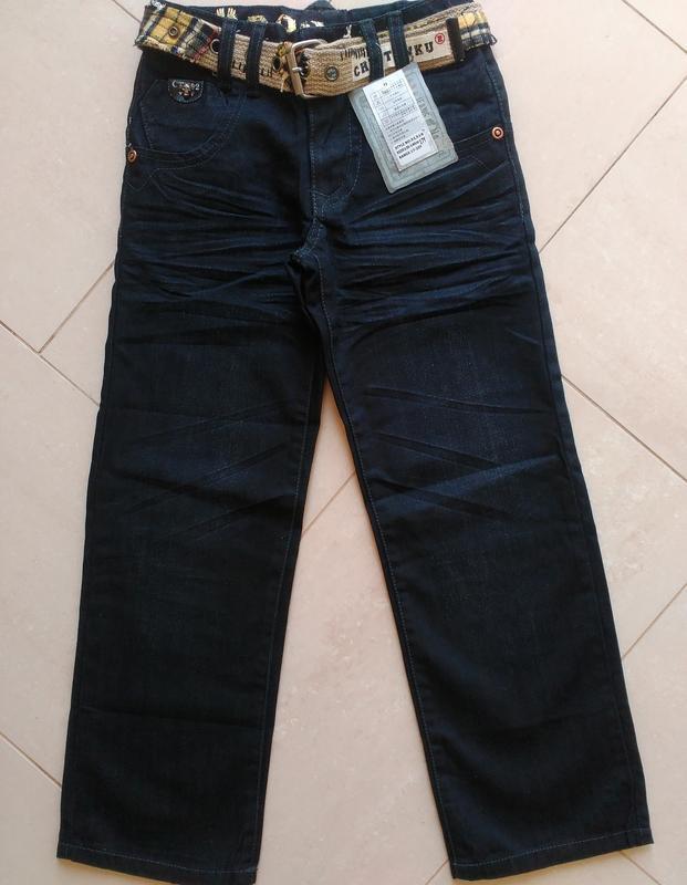 Черные джинсы брюки на мальчика подростка с ремнем 7-15 лет