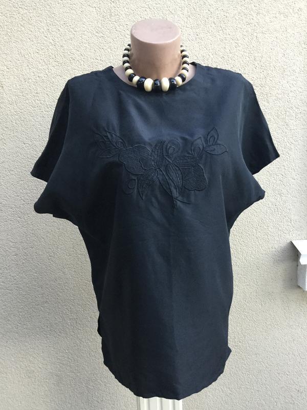 Винтаж,легкая,шёлк блуза- реглан рубаха,кофточка с вышивкой