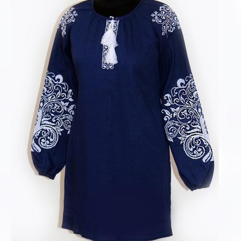 Женское вышитое платье Ольга (тёмно-синий лен) (Украина)