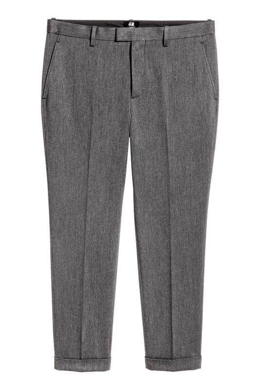 Серые укороченные костюмные брюки h&m , slim fit !