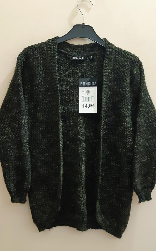 Вязаный кофта кардиган зелено черная для девочек 10-14 лет  pu...