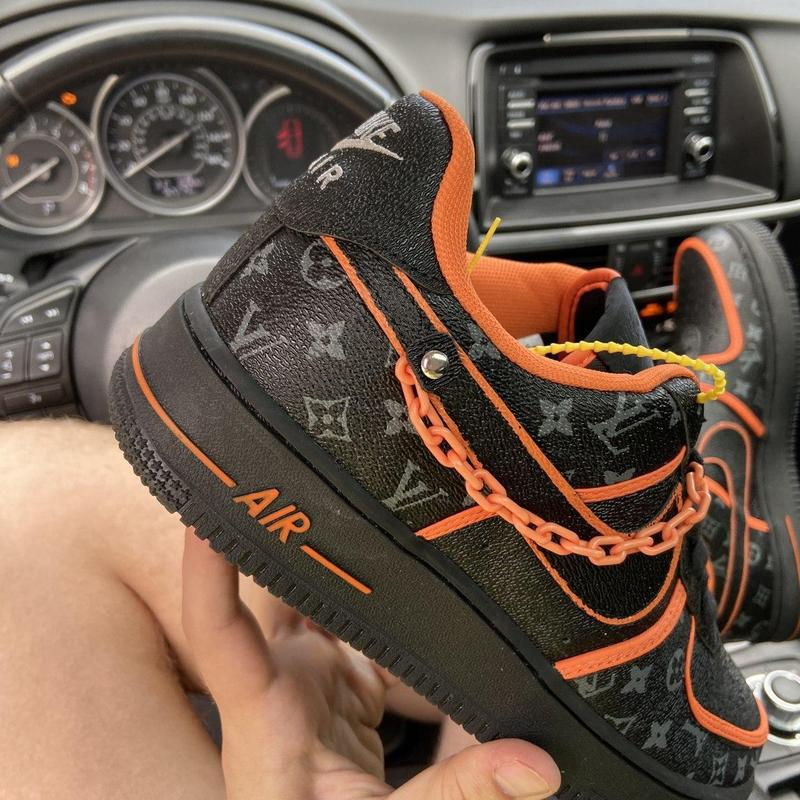 Nike air force 1 low black orange x louis vuitton. - Фото 10