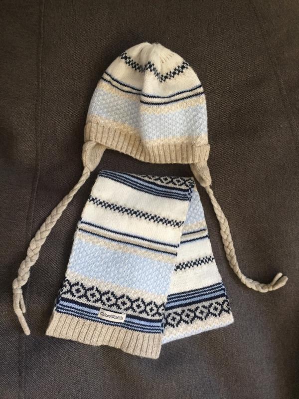 Комплект шапка и шарф 9-12 м 44-46 - Фото 2