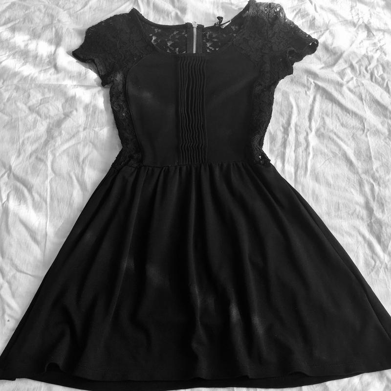 Платье платьице маленькое чёрное сеточка кружево