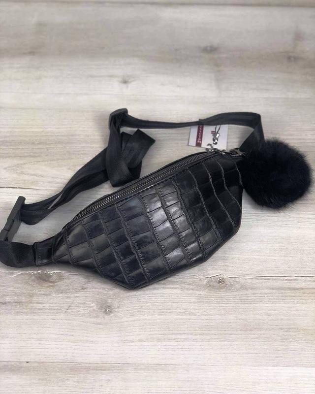 Женская сумка с брелком черный крокодил 60804