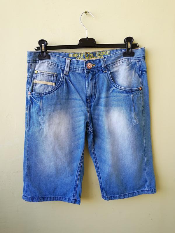 Джинсовые длинные шорты для мальчика подростка бриджи капри