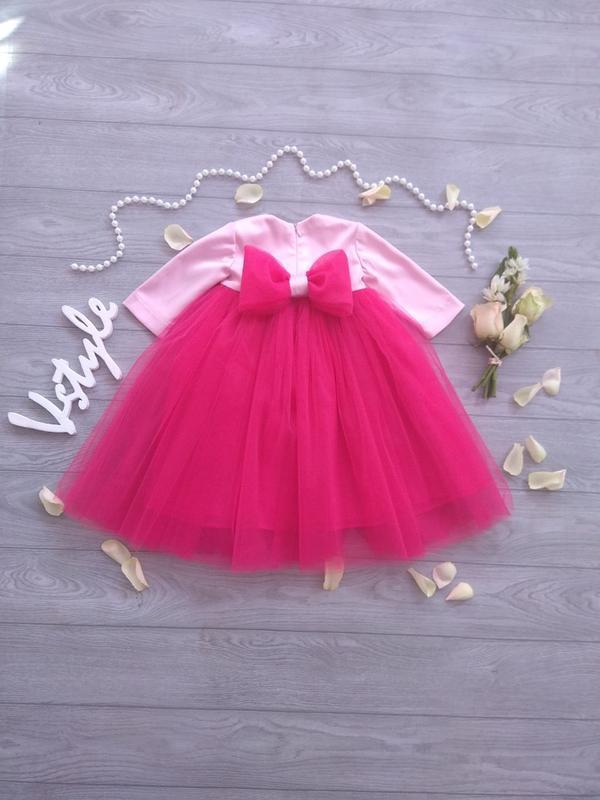 Яркое фатиновое платье с бантом 🎀