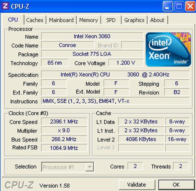 Двухядерный Intel Xeon 3060 (Core 2 Duo E6600) 2,4ГГц (s775) - Фото 2