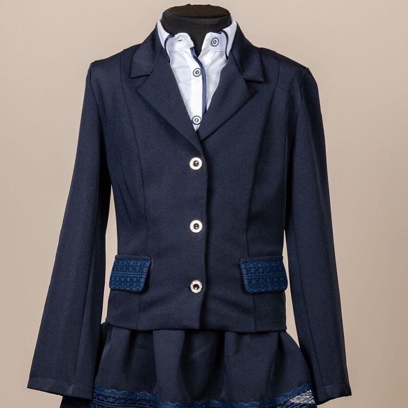 Школьный костюм для девочки двойка - пиджак и юбка, синий с гипюр