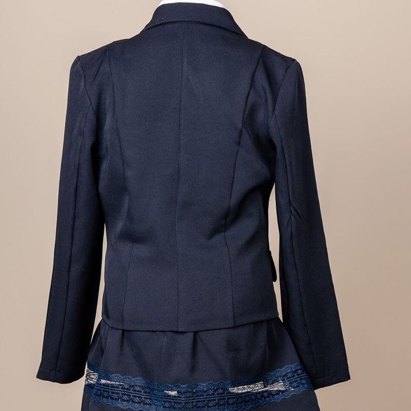 Школьный костюм для девочки двойка - пиджак и юбка, синий с гипюр - Фото 3