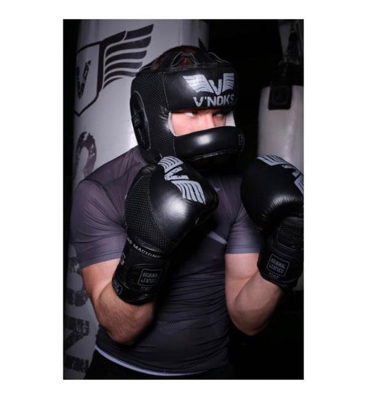 Боксерский шлем V`Noks с бампером Boxing Machine PRO Черный - Фото 2