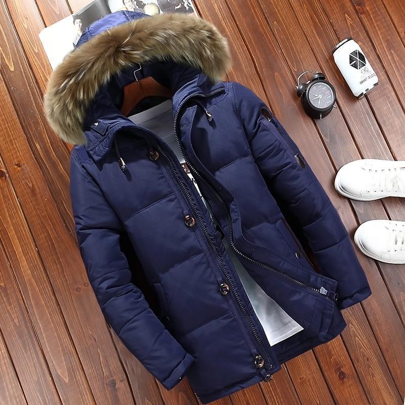 Мужской зимний пуховик куртка jeep с опушкой, синий