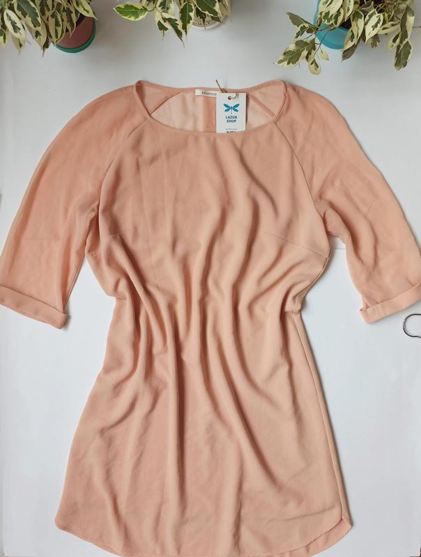 Персикова вільна сукня з рукавом. персиковое свободное платье ...