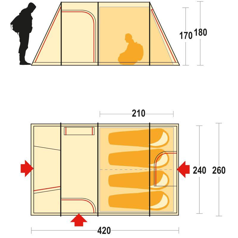 Палатка кемпинговая четырехместная Ferrino Proxes 4 - Фото 8