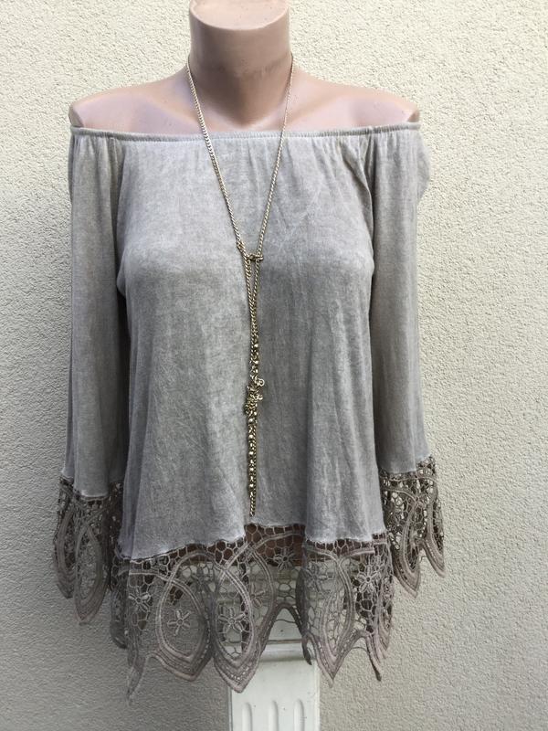 Трикотаж блуза-реглан,кофточка с кружевом,открытые плечи,этно,...