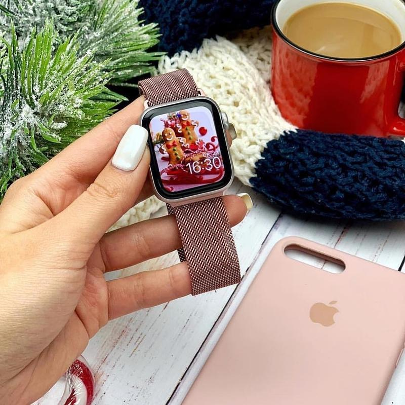 Ремешок миланская петля для часов apple watch rose gold (розов...