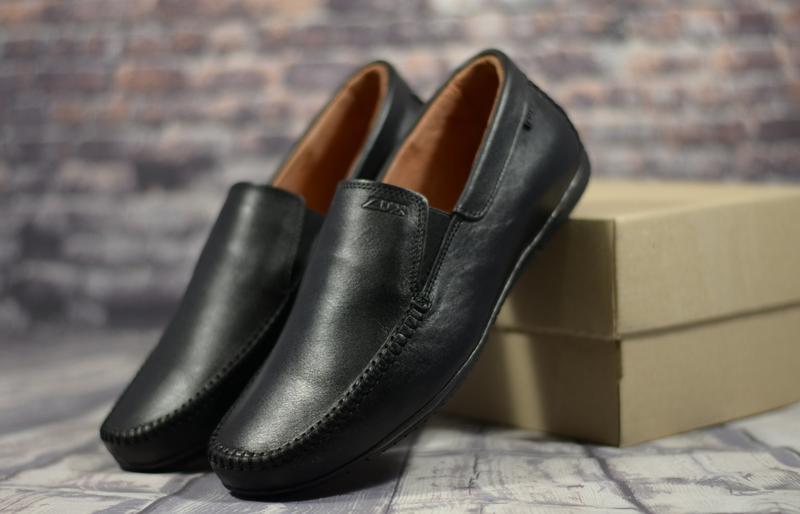 Стильные кожаные мужские туфли мокасины