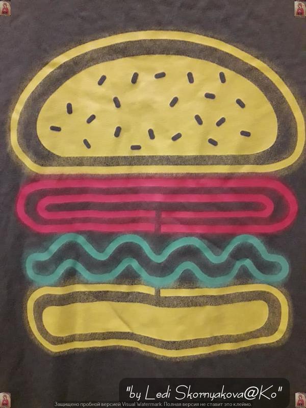 """Фирменная h&m красивая футболка цвета хаки с принтом """"бургер"""",... - Фото 2"""