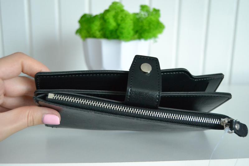 Гаманець чорний на кнопці - Фото 4
