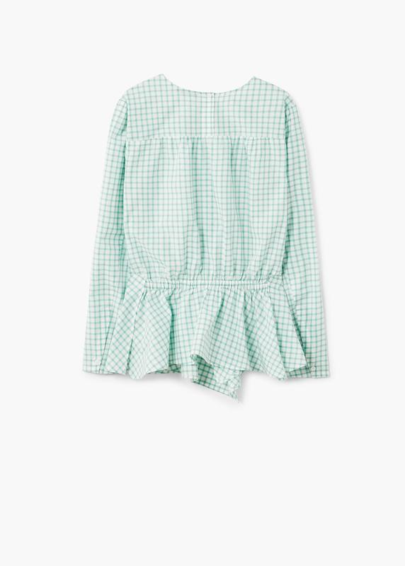 Хлопковая натуральная блузка в клетку манго нежнозеленого цвета - Фото 2